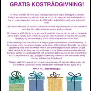 Maila före 31 augusti för chans att vinna gratis kostrådgivning